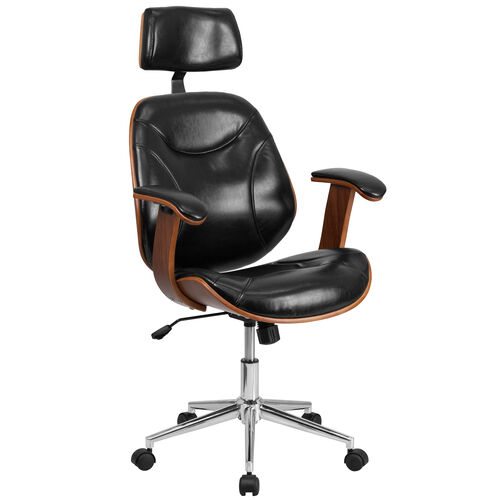 Our High Back Black LeatherSoft Executive Ergonomic Wood Swivel Office Chair with Arms is on sale now.