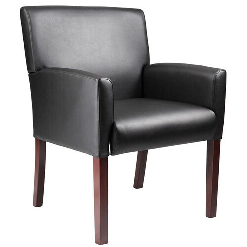 Our Mid Back Mahogany Finish Reception Box Arm Chair - Black is on sale now.