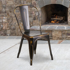 Commercial Grade Distressed Copper Metal Indoor-Outdoor Stackable Chair