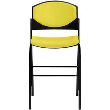 Eddy Black Bar Stool with Upholstered Back and Seat Pads