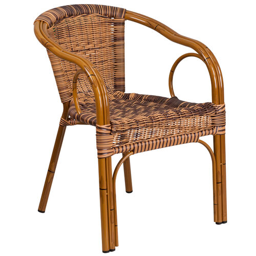 Our Cadiz Series Burning Brown Rattan Restaurant Patio Chair with Dark Red Bamboo-Aluminum Frame is on sale now.
