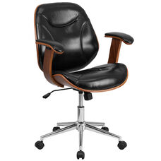 Mid-Back Black Leather Executive Wood Swivel Chair with Arms