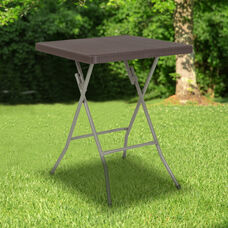 1.95-Foot Square Brown Rattan Plastic Folding Table