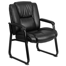 HERCULES Series Big & Tall 500 lb. Rated Black Leather Tufted Executive Side Reception Chair with Sled Base