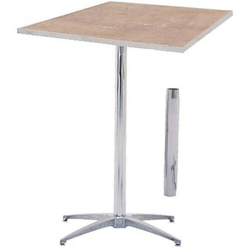 Standard Series Square Pedestal Table with Inter-Changeable Columns, Chrome Plated Steel Column, and Plywood Top - 36
