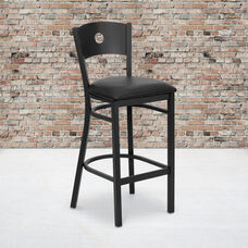 Black Circle Back Metal Restaurant Barstool with Black Vinyl Seat