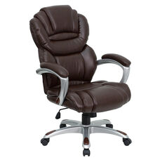 High Back Brown Leather Executive Swivel Ergonomic Office Chair with Arms