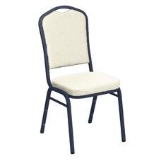 Embroidered E-Z Sierra White Vinyl Upholstered Crown Back Banquet Chair - Silver Vein Frame