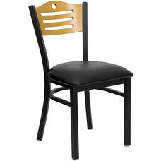 Black Slat Back Metal Restaurant Chair with Natural Wood Back & Black Vinyl Seat
