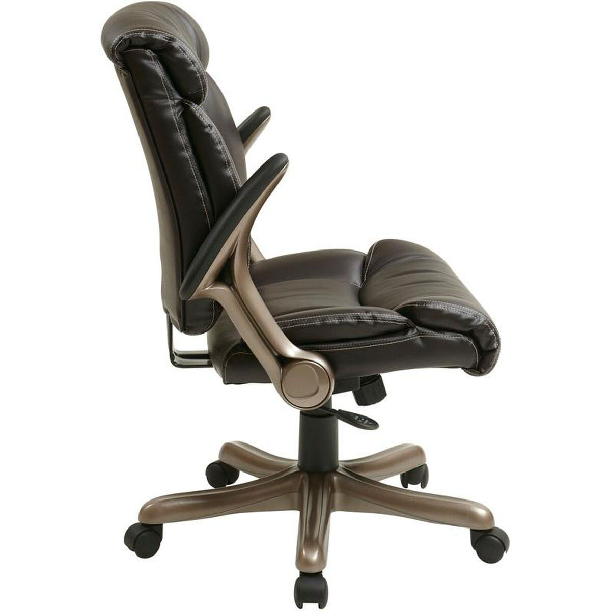 Our Work Smart Executive Eco Leather Chair With Padded Arms And Cocoa Coated Base Espresso