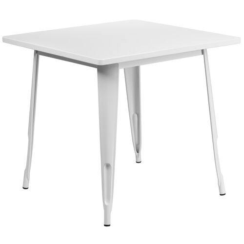 """Our Commercial Grade 31.5"""" Square White Metal Indoor-Outdoor Table is on sale now."""