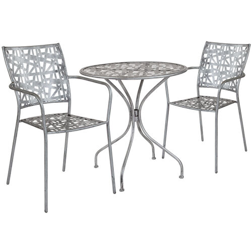 "Our Agostina Series 27.5"" Round Antique Silver Indoor-Outdoor Steel Patio Table with 2 Stack Chairs is on sale now."