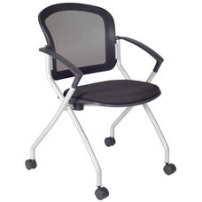 Cadence Mesh Back Nesting Chair with Casters - Black Fabric