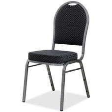 Lorell Sturdy Stacking Armless Chair with Textured Green Fabric - Set of 4