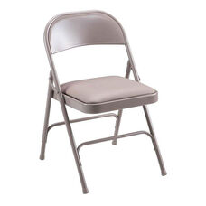 Lorell 500 lb. Capacity Beige Steel Folding Chair with Padded Seats - Set of 4