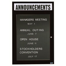 1 Door Outdoor Enclosed Directory Board with Header and Black Anodized Aluminum Frame - 48