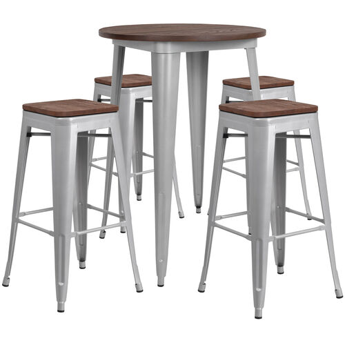 """Our 30"""" Round Silver Metal Bar Table Set with Wood Top and 4 Backless Stools is on sale now."""