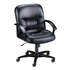 Lorell Tufted Leather Series Managerial Mid Back Chair
