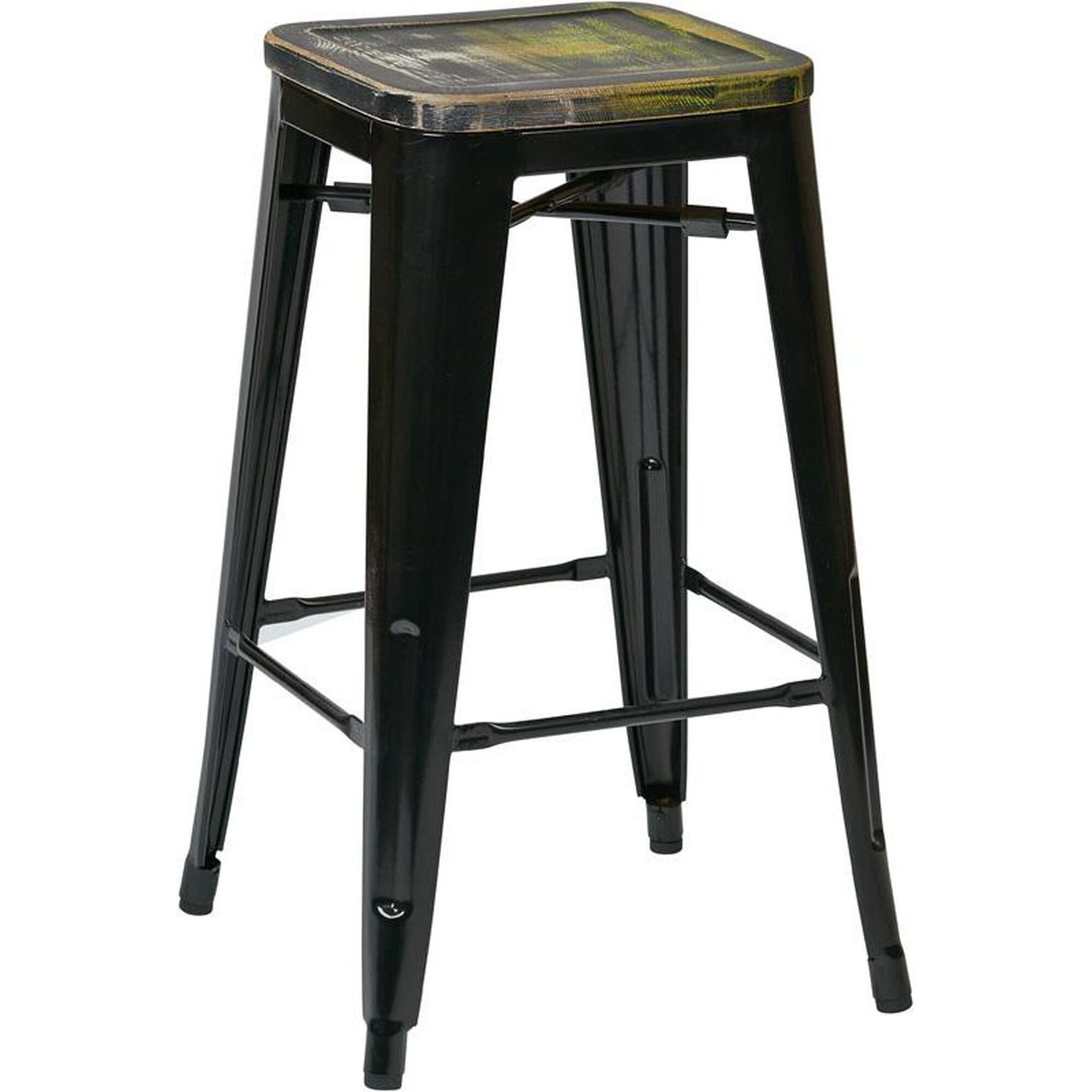 Set Of 4 Black Metal Barstool Brw31263a4 C301