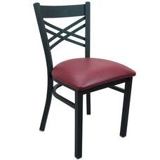 Advantage Black Metal Cross Back Chair - Burgundy Padded