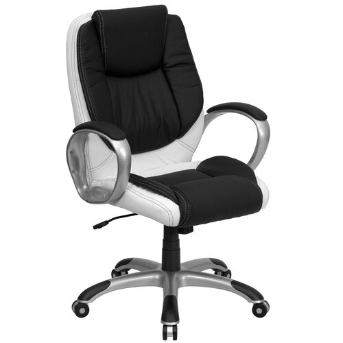 Our Mid-Back Black and White LeatherSoft Executive Swivel Office Chair with Arms is on sale now.