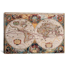 Antique World Map by Henricus Hondius Gallery Wrapped Canvas Artwork