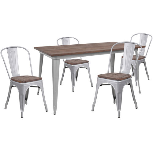 """Our 30.25"""" x 60"""" Silver Metal Table Set with Wood Top and 4 Stack Chairs is on sale now."""