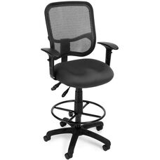 Mesh Comfort Ergonomic Task Chair with Arms and Drafting Kit - Gray