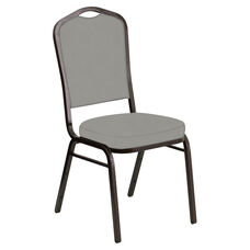 Embroidered Crown Back Banquet Chair in E-Z Wallaby Gray Vinyl - Gold Vein Frame