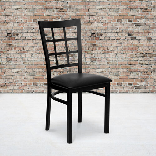Our Black Window Back Metal Restaurant Chair with Black Vinyl Seat is on sale now.