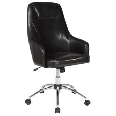 Rennes Home and Office Upholstered High Back Chair in Black Leather