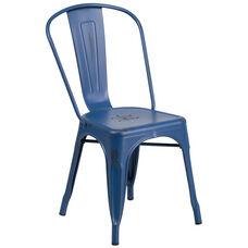 Distressed Antique Blue Metal Indoor-Outdoor Stackable Chair