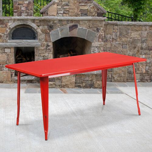 """Commercial Grade 31.5"""" x 63"""" Rectangular Red Metal Indoor-Outdoor Table"""