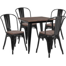 "31.5"" Square Black Metal Table Set with Wood Top and 4 Stack Chairs"
