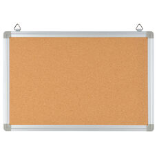 "HERCULES Series 17.75""W x 11.75""H Personal Sized Natural Cork Board with Aluminum Frame"