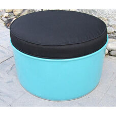 Stormy Mountain Steel Drum Ottoman with Black Accents