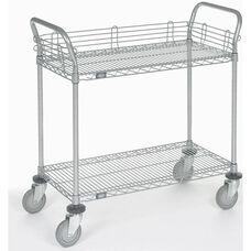 Chrome 2 Shelf Utility Cart-Polyurethane Casters - 21
