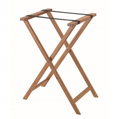 Hardwood Tray Stand with Nylon Support Straps - Medium Stain and Semi Gloss Lacquer Finish