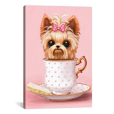 Yorkie In A Teacup by Melanie Schultz Gallery Wrapped Canvas Artwork with Floating Frame - 19