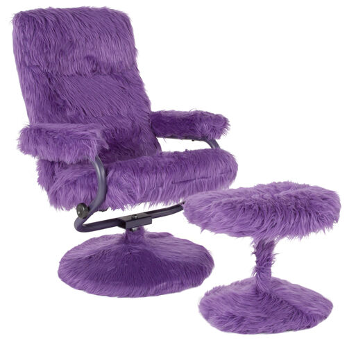 East Side Contemporary Multi-Position Recliner and Ottoman in Purple Fur
