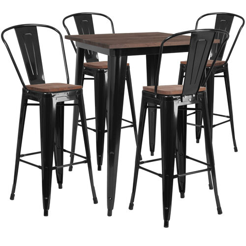 """31.5"""" Square Black Metal Bar Table Set with Wood Top and 4 Stools"""