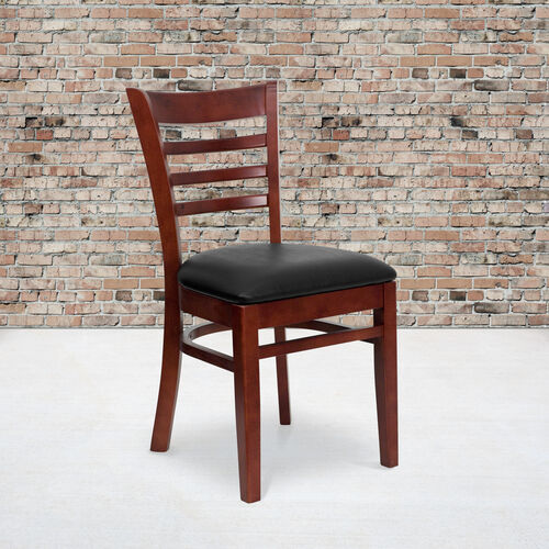 Our Mahogany Finished Ladder Back Wooden Restaurant Chair with Black Vinyl Seat is on sale now.