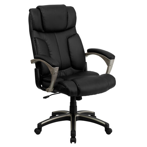 Our High Back Folding Black LeatherSoft Executive Swivel Office Chair with Arms is on sale now.