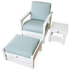 POLYWOOD® Club 3-Piece Deep Seating Set - White / Spa