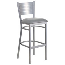 Silver Slat Back Metal Restaurant Barstool with Custom Upholstered Seat