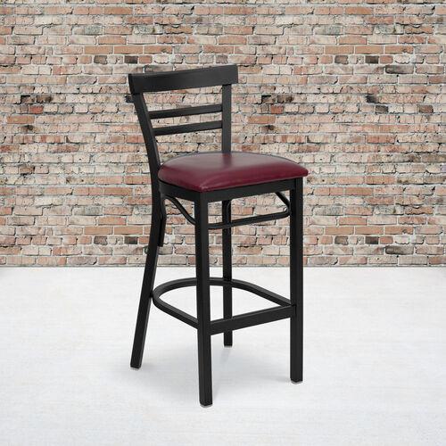 HERCULES Series Black Two-Slat Ladder Back Metal Restaurant Barstool - Burgundy Vinyl Seat