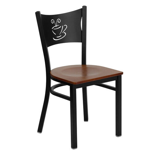Our Black Coffee Back Metal Restaurant Chair with Cherry Wood Seat is on sale now.