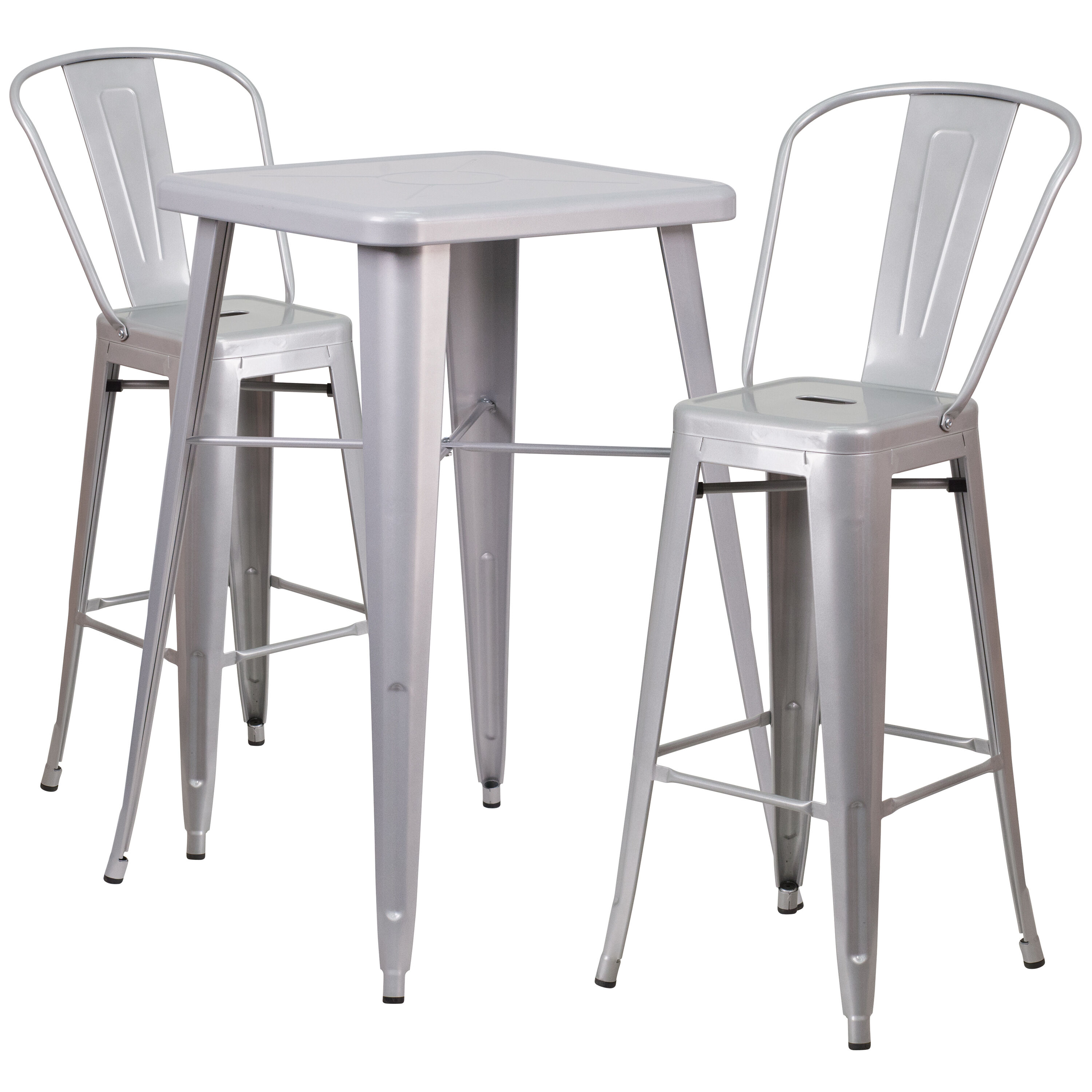 ... Our 23.75u0027u0027 Square Silver Metal Indoor-Outdoor Bar Table Set with 2 Stools  sc 1 st  Restaurant Furniture 4 Less & 23.75SQ Silver Metal Bar Set CH-31330B-2-30GB-SIL-GG ...