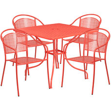 "Commercial Grade 35.5"" Square Coral Indoor-Outdoor Steel Patio Table Set with 4 Round Back Chairs"