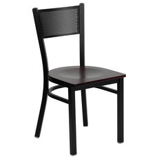 Black Grid Back Metal Restaurant Chair with Mahogany Wood Seat